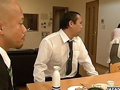Asian demoiselle sucking him improve his client