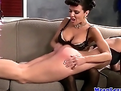 Busty lezdom ass toyed with strapon by seating for