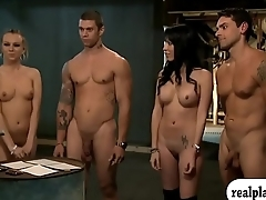 Nasty ladies foursome in the jail cell