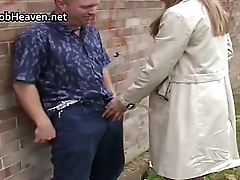 Alfresco hand and blowjob from hot milf