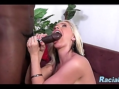Big Boob MILF Sucking Black Cock Off While Her Lady Plays With Himself