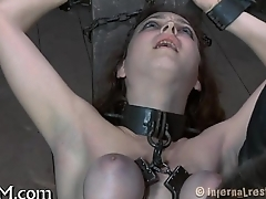 Hardcore clamping of sexy jugs