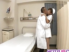 Aya hot nurse takes uniform off to drag inflate and stroke two shlongs
