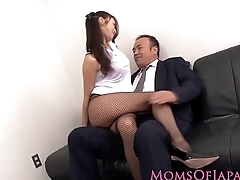 Japanese milf in stockings fucked to hand office