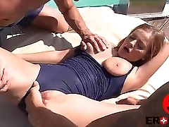 Threesome by a catch swimming pool Candy Alexa
