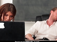InnocentHigh - Down in the mouth Teen Fucked In Detention