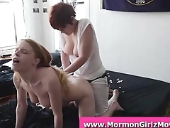 Redhead Mormon homophile with a strapon making out girlfriend