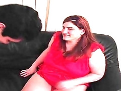 Amateur BBW Handjob In Red