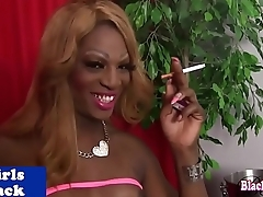 Ebony shemale tugging will not hear of dick