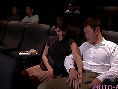 Japanese babe tugging added to sucking in cinema