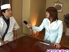 Mitsu Anno gets cock deepthroat and cum connected with mouth connected with food charm