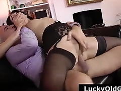 Older British gay blade fucking young slut in stockings and heels