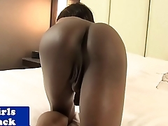 Heeled coal-black tranny cum drenched