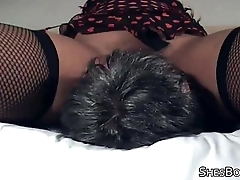 Thick ebony mistress takes a licking from an old pauper