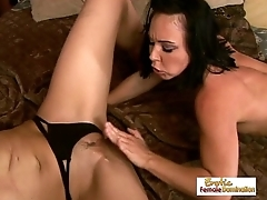 Crazy lesbian sluts fuck each other with mammoth dildos