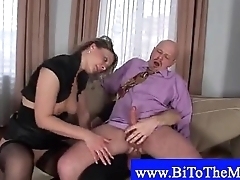 Woman gets fucked by two bimen on sofa - Bisexual - Amateur mating video