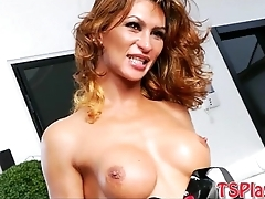 Tranny in latex fit banged in the ass by constant schlong