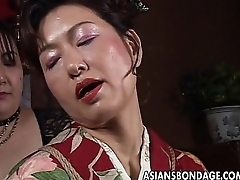 Asian adult bitch has a rope session to endure