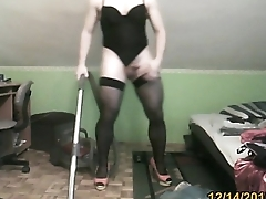 hoovering in sexy thong leotard